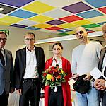Begrüßung der 10.000sten Ratsuchenden im Welcome Center Stuttgart (v.l.n.r: Jürgen Oswald, Werner Wölfle, Maja Pazin, Nikola Dodig, Dr. Walter Rogg; Foto: WRS/Augustin)